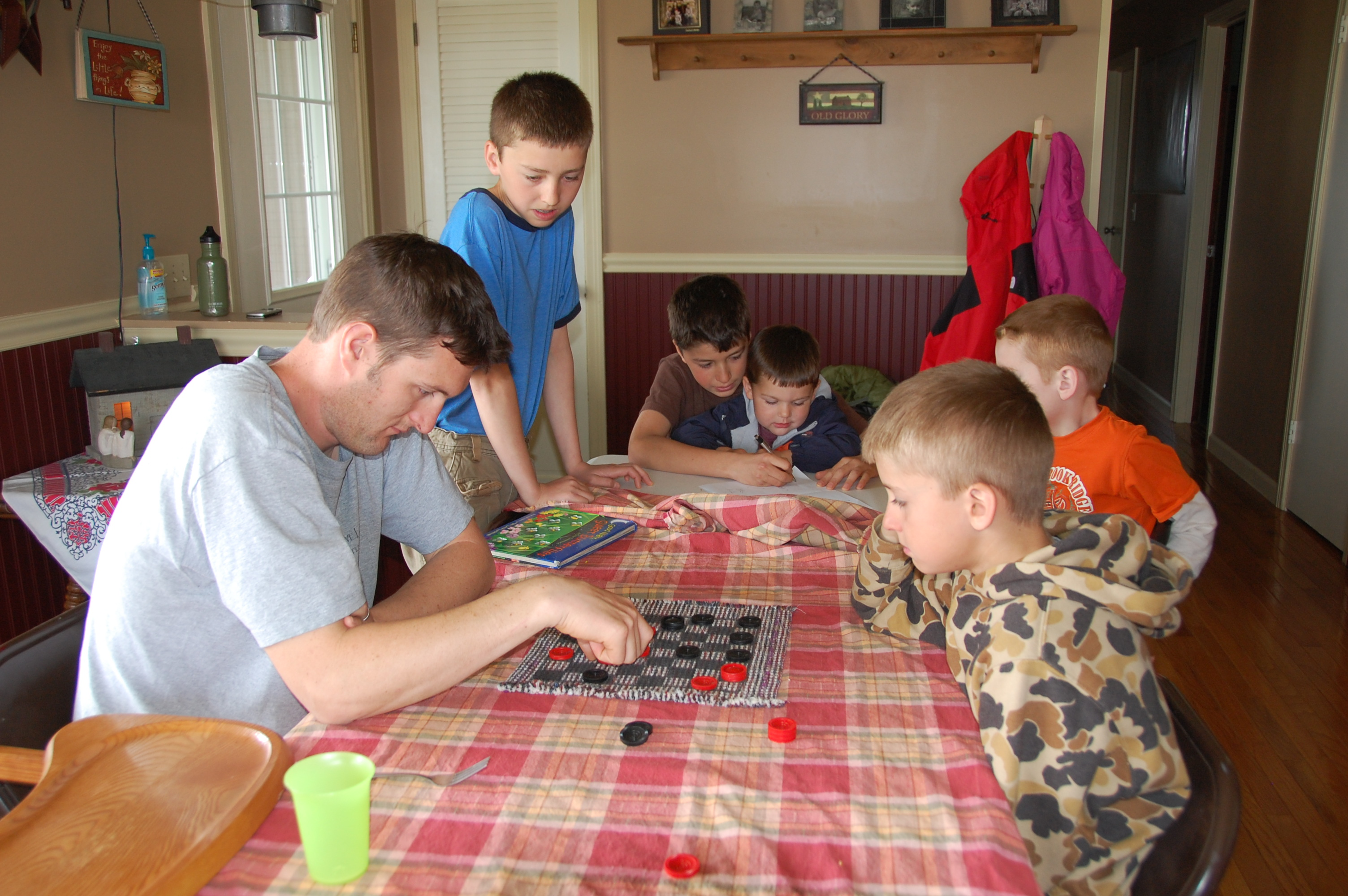 The boys and Nate playing games.