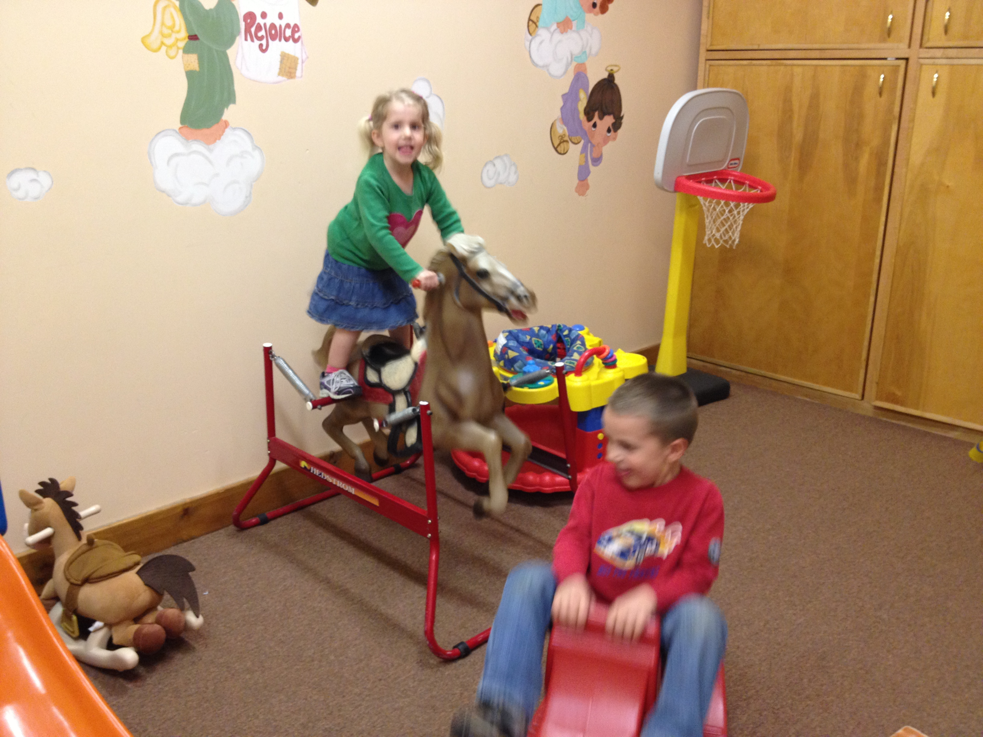During basketball the kids played in the nursery & had a blast.
