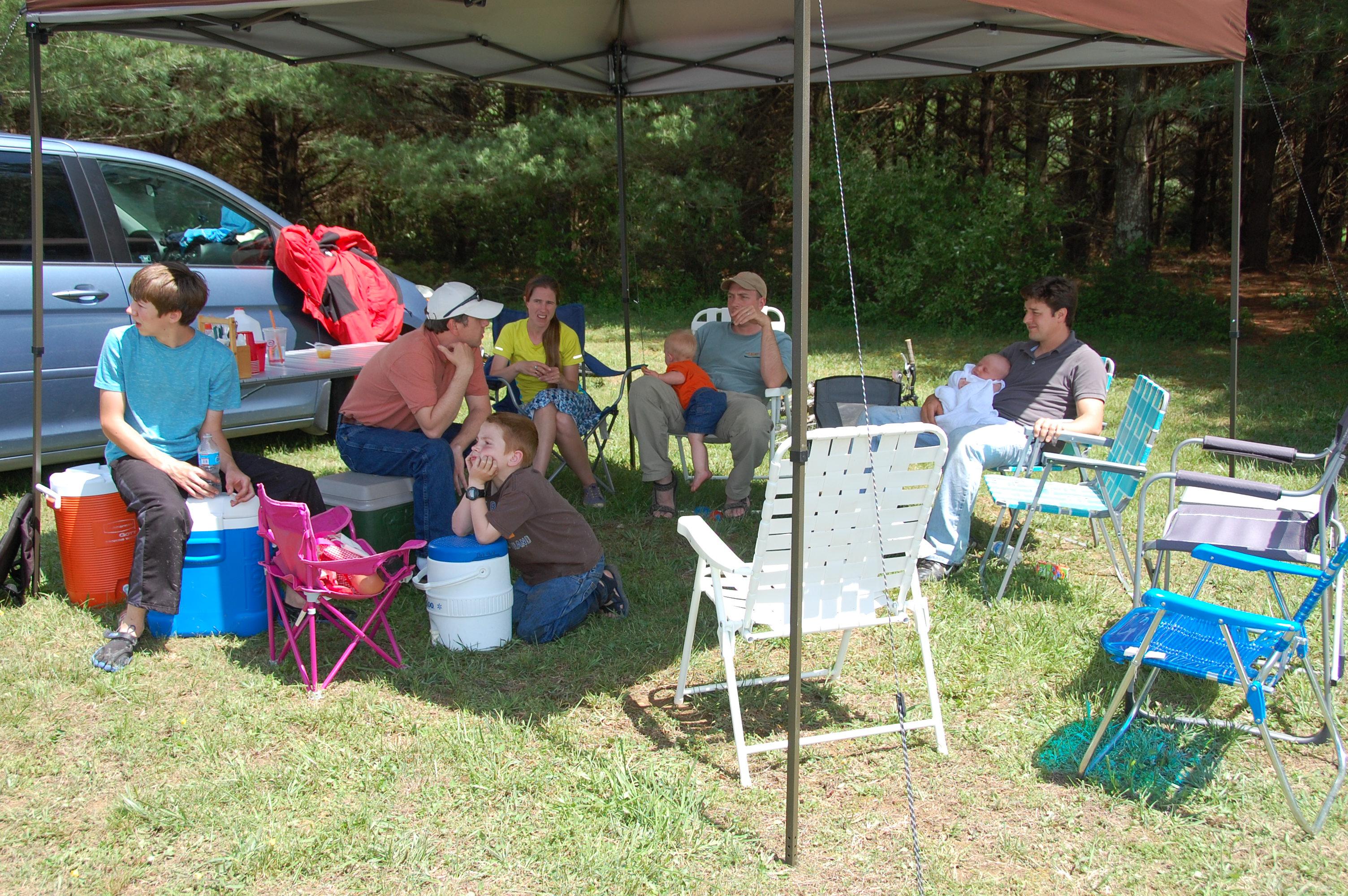 Enjoying some shade under our canopy. (Tucker, Ned, & Sarah Loyd, Cooper, Kolby & Chester, Finley & Ian Dunavant)