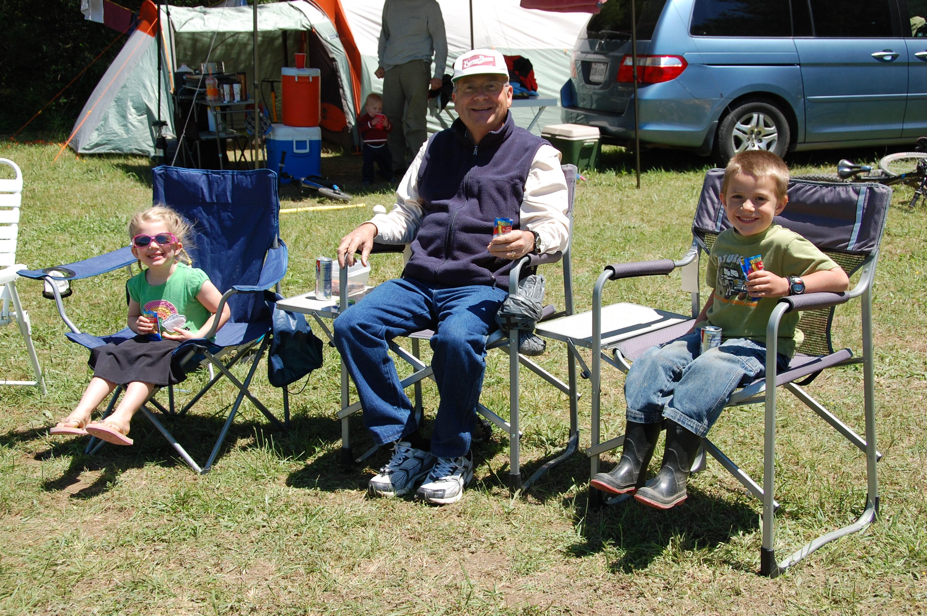 Snack time with Granddad. Kaylin & Bryant love Granddad's peanuts.