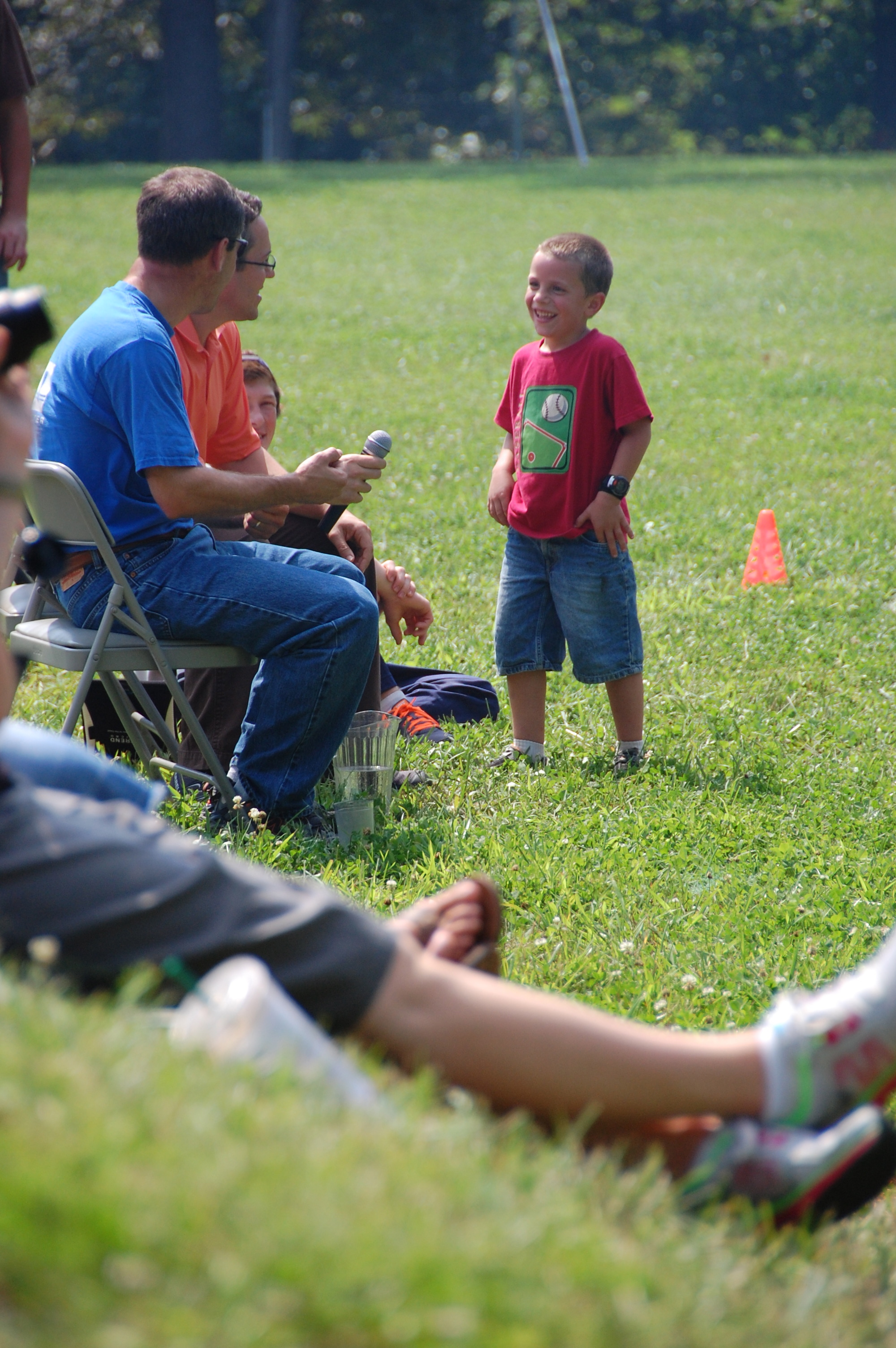 Weldon Stogsdill & David Rutt interviewing Bryant about how you win at Tug-O-War