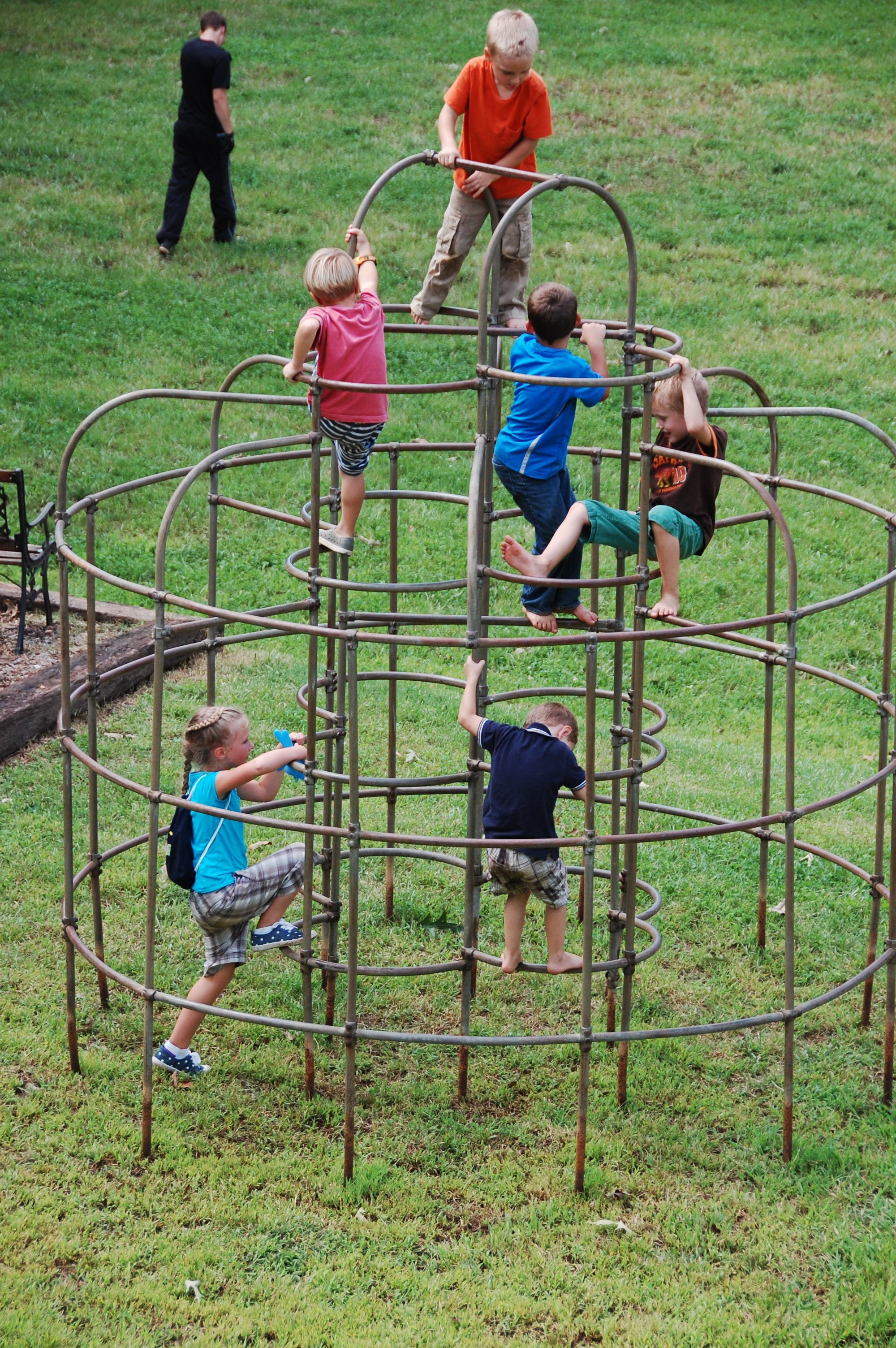 The kids really enjoyed climbing on the jungle gym.