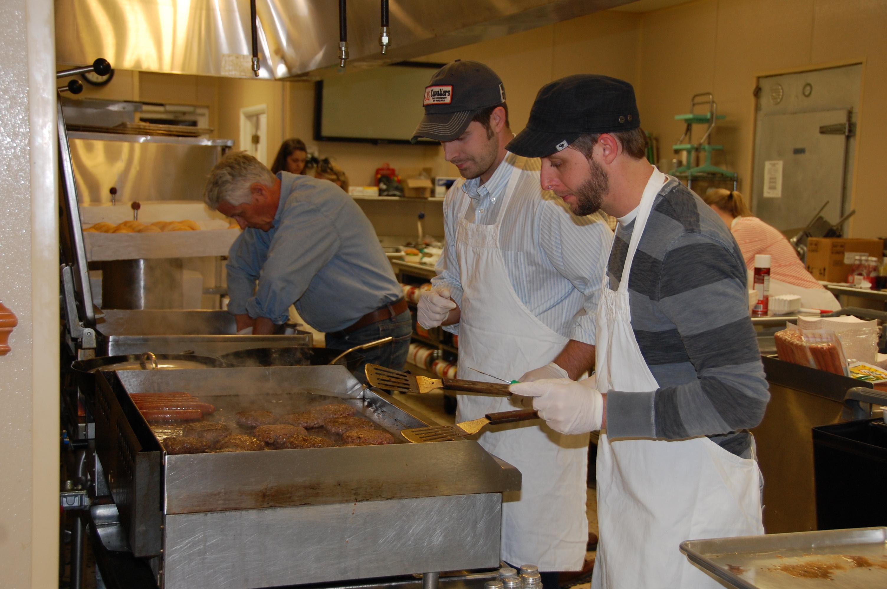 Robert (toasted all the buns), Zeke & Patrick making some Killer hamburgers
