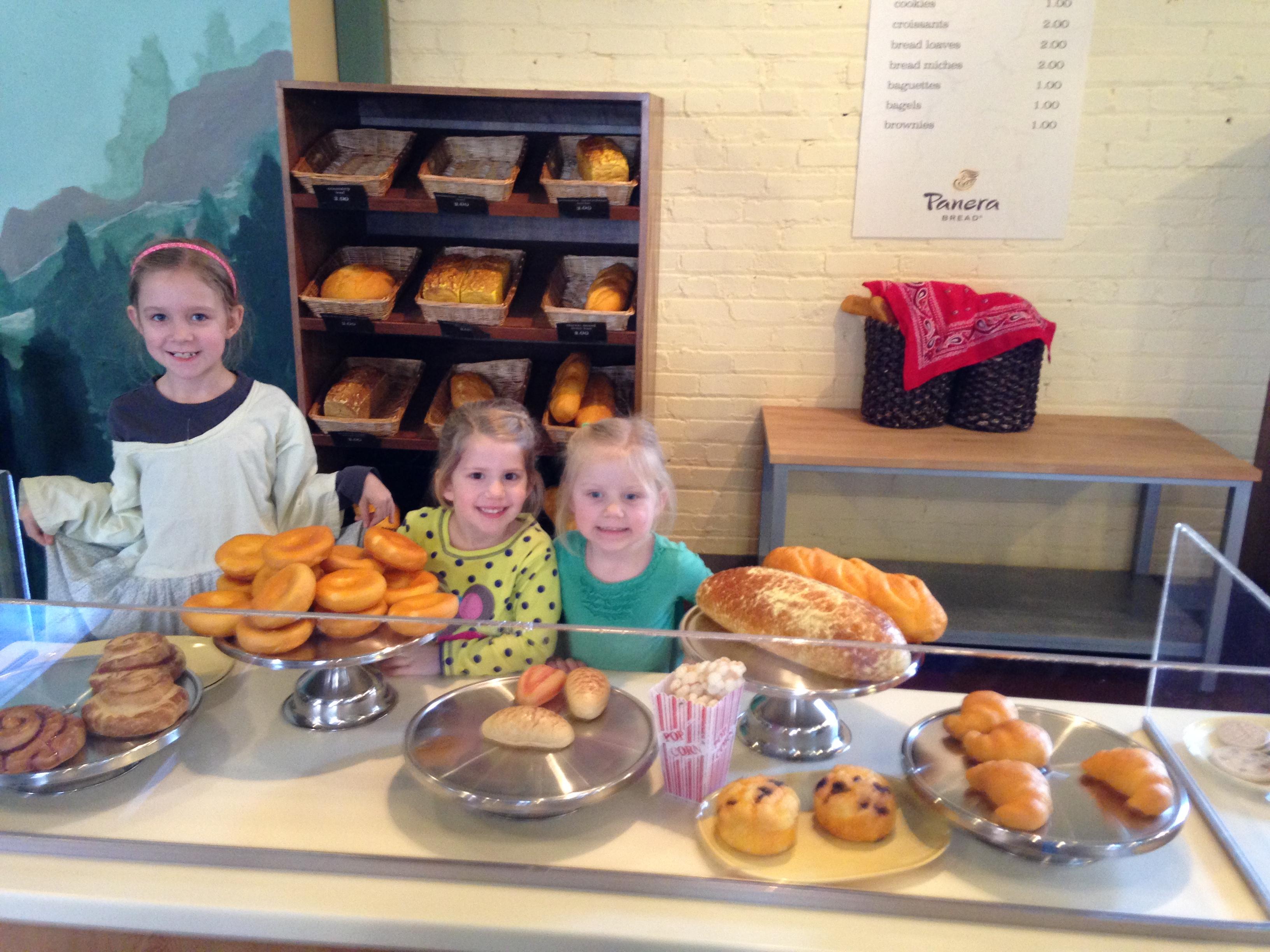 Gracie, Kaylin, & Corah running their Panera Bread store.