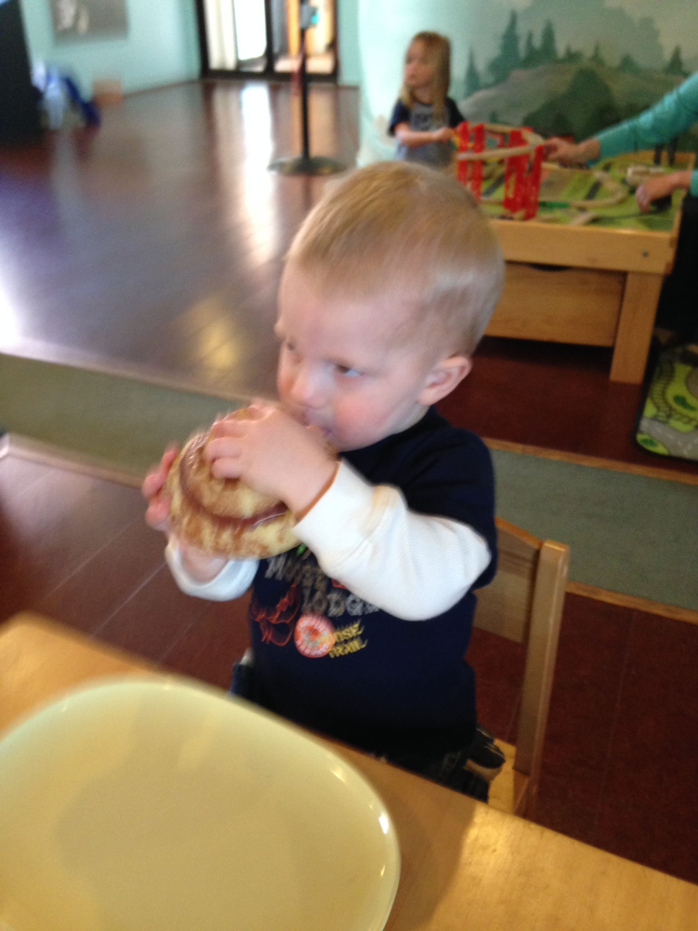 "Kolby ""pretend"" eating his cinnamon roll"