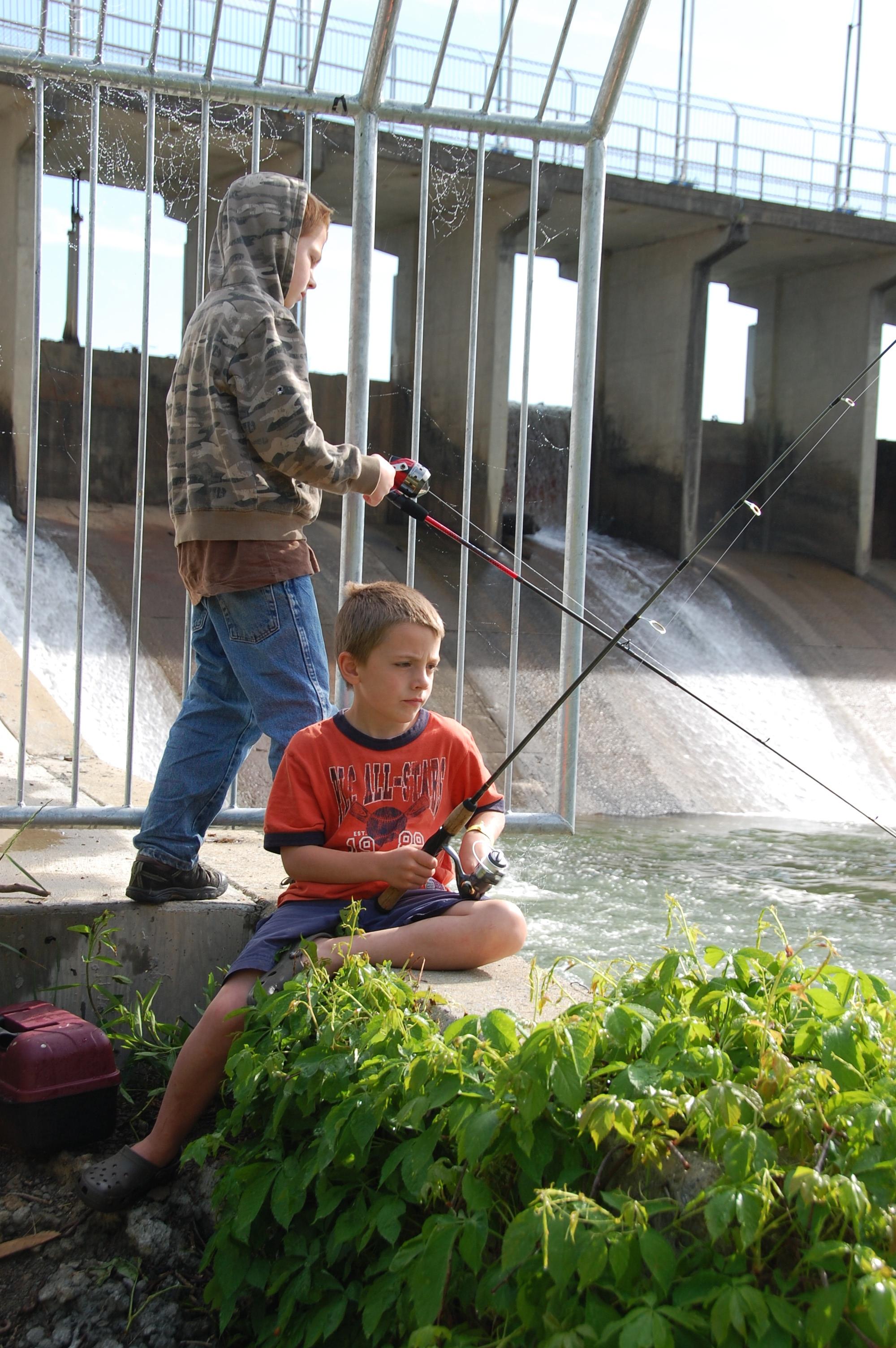 Bryant & Cooper fishing below the dam.