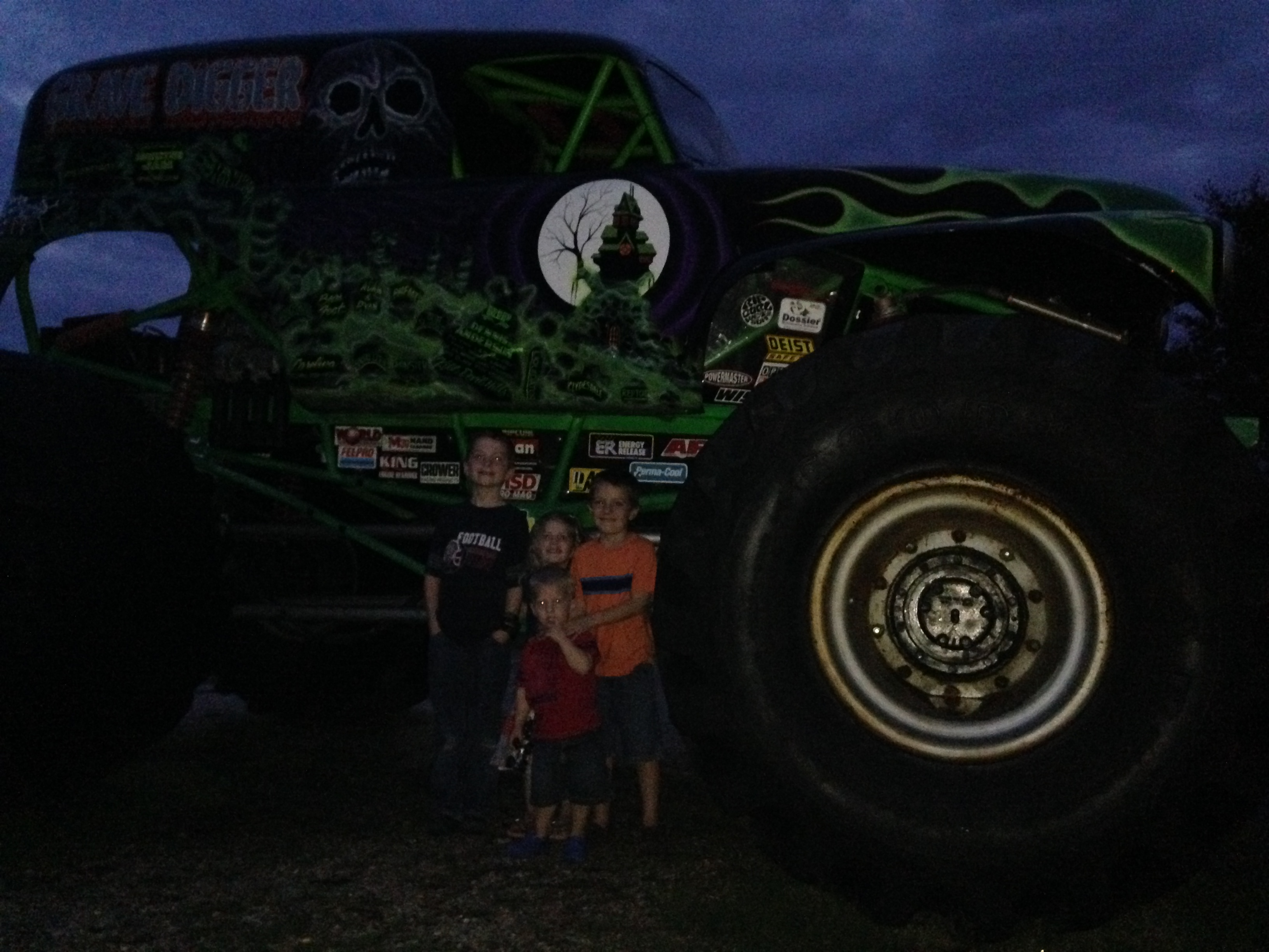 The kids in front of Grave Digger