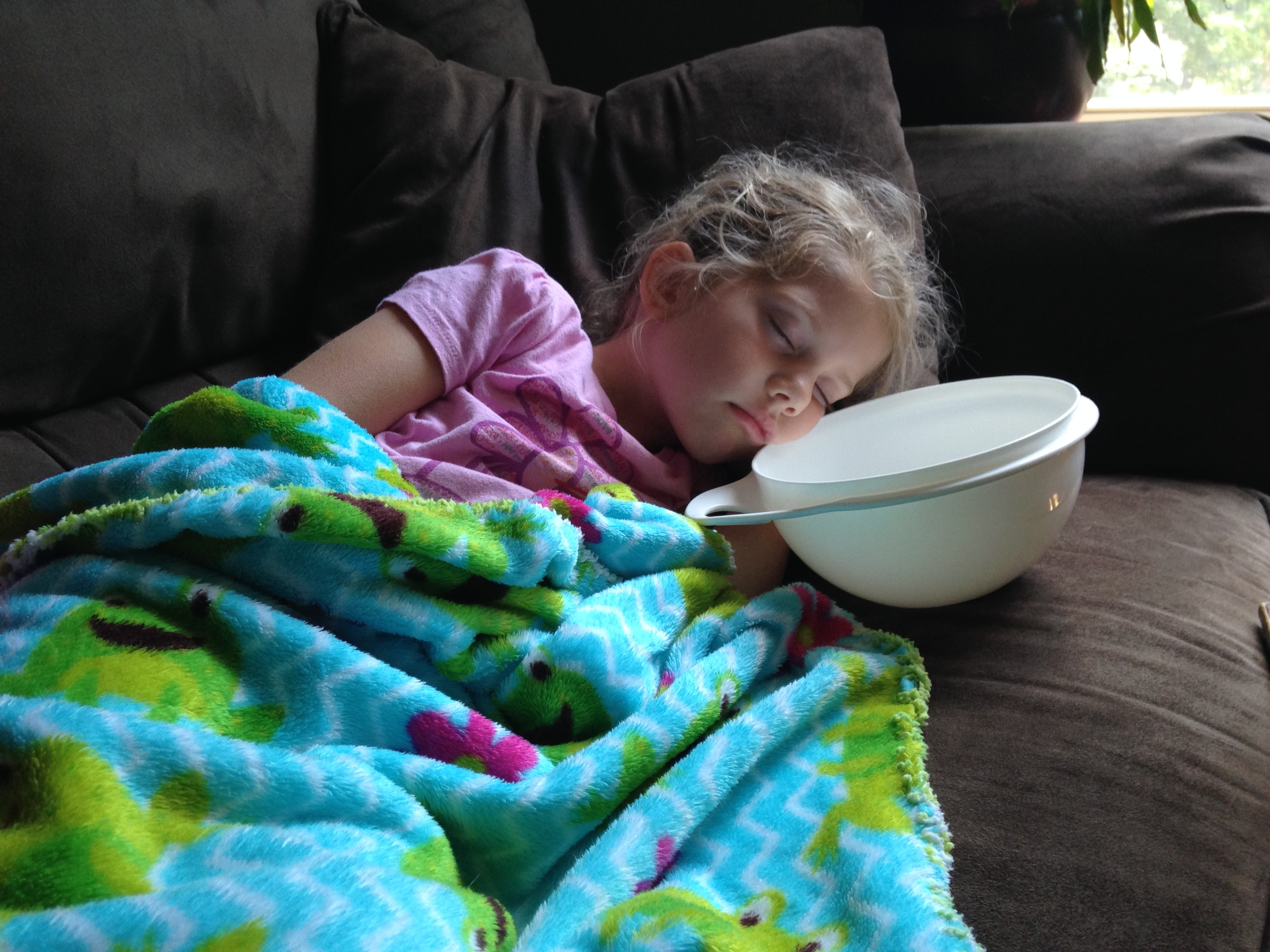Poor Kaylin spent all day next to her bowl.