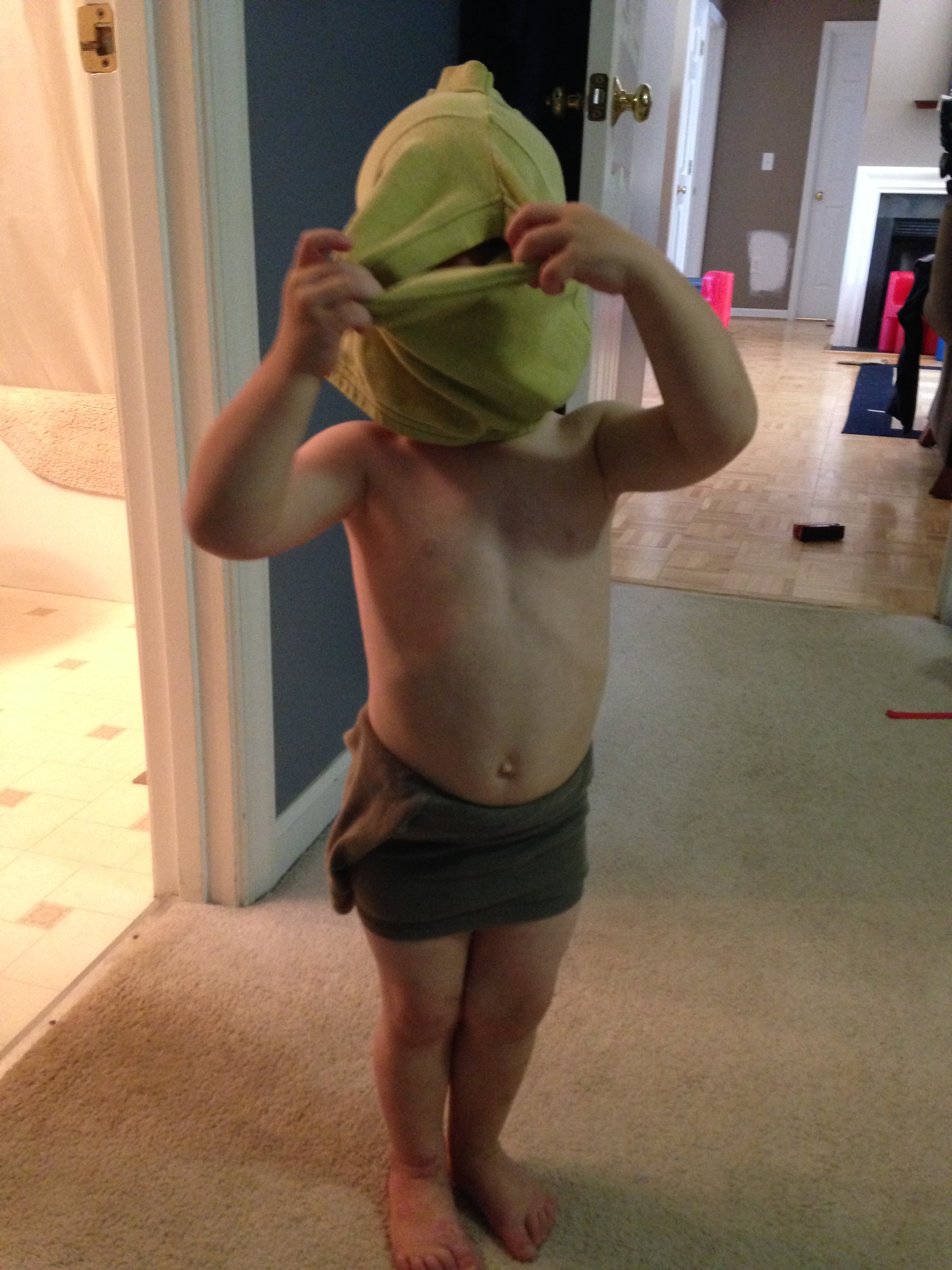 """Love the two legs in one hole look. Funny kid! """"Help"""""""