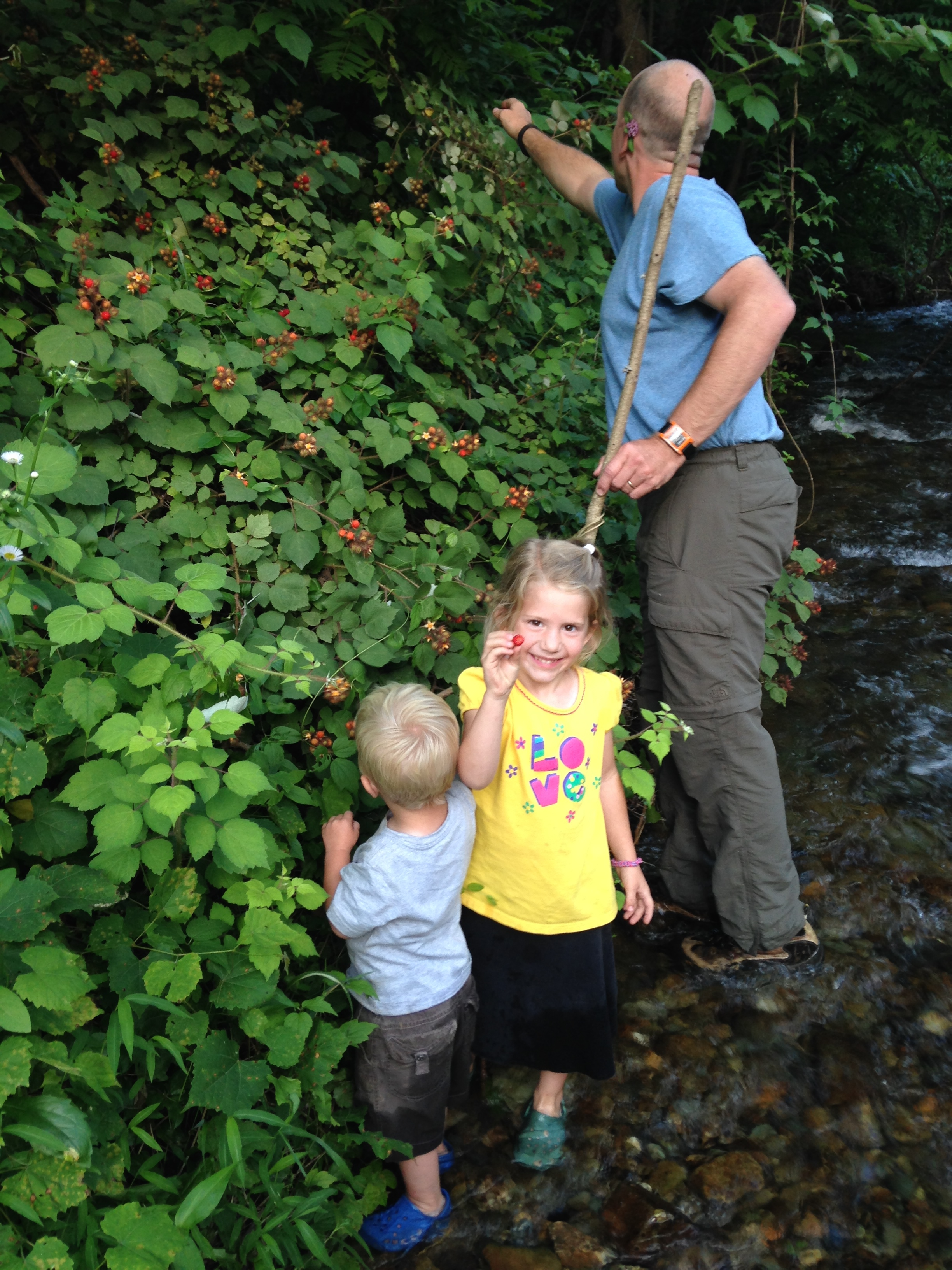 Picking Raspberries while wading in the water.