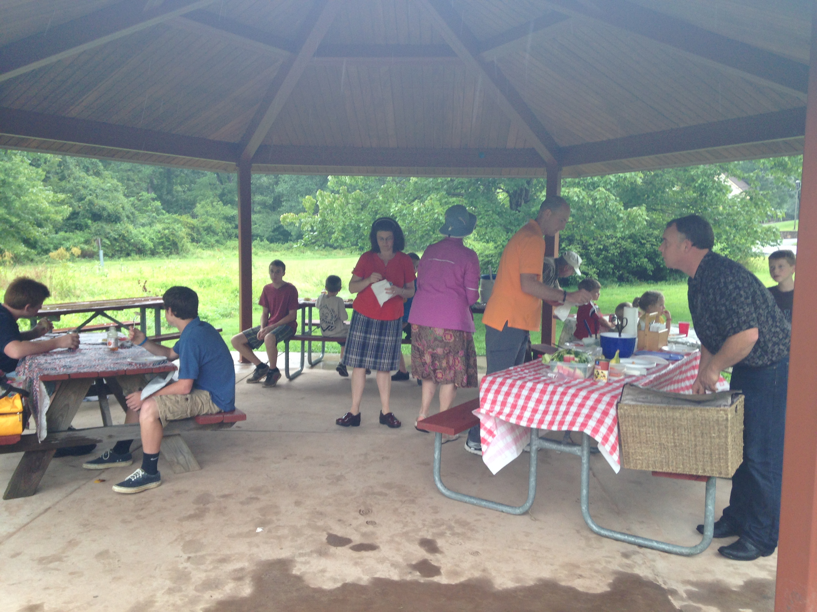 Our picnic under the shelter