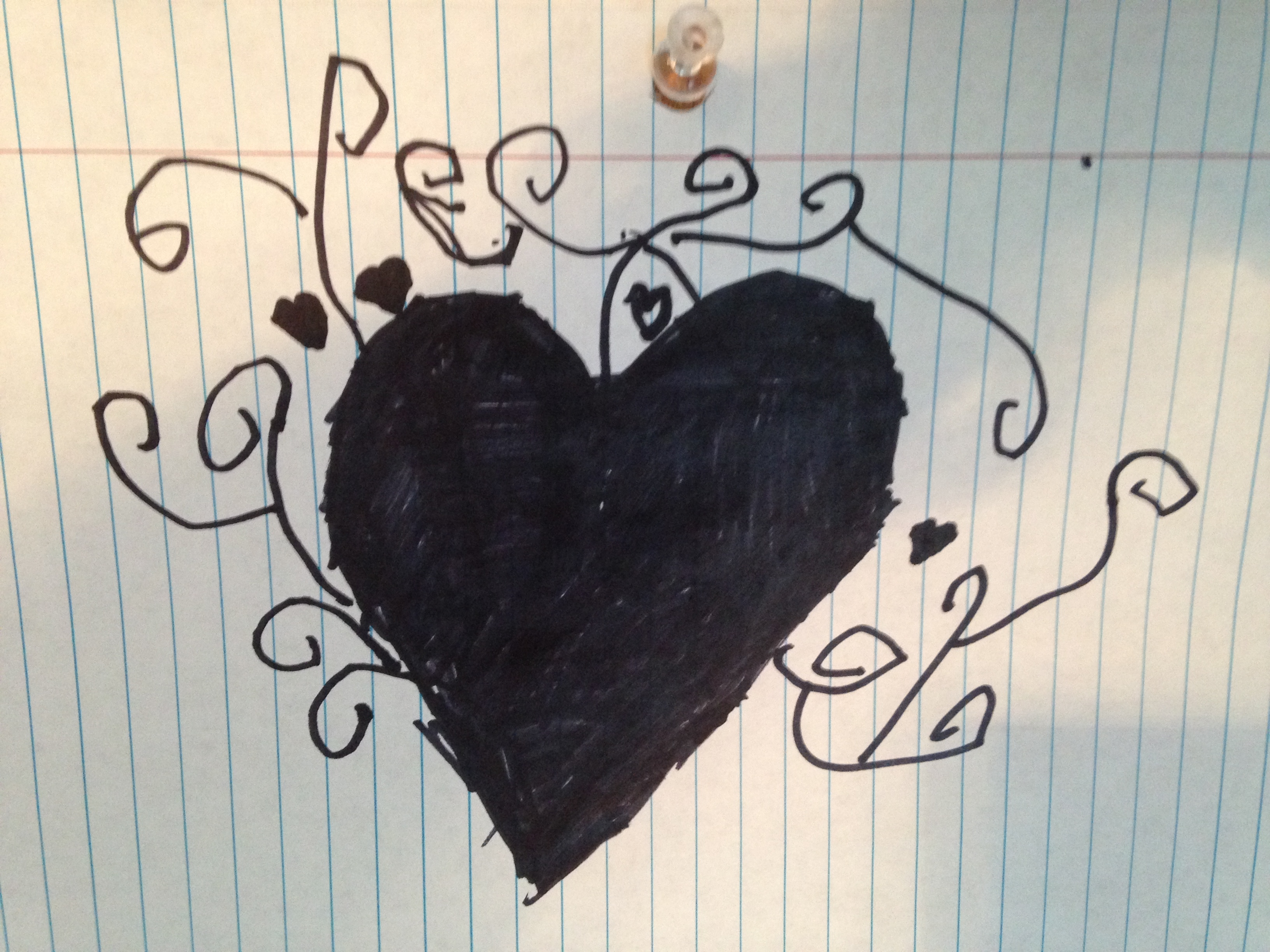 Bryant then drew this heart for Chester & I. Sweet!
