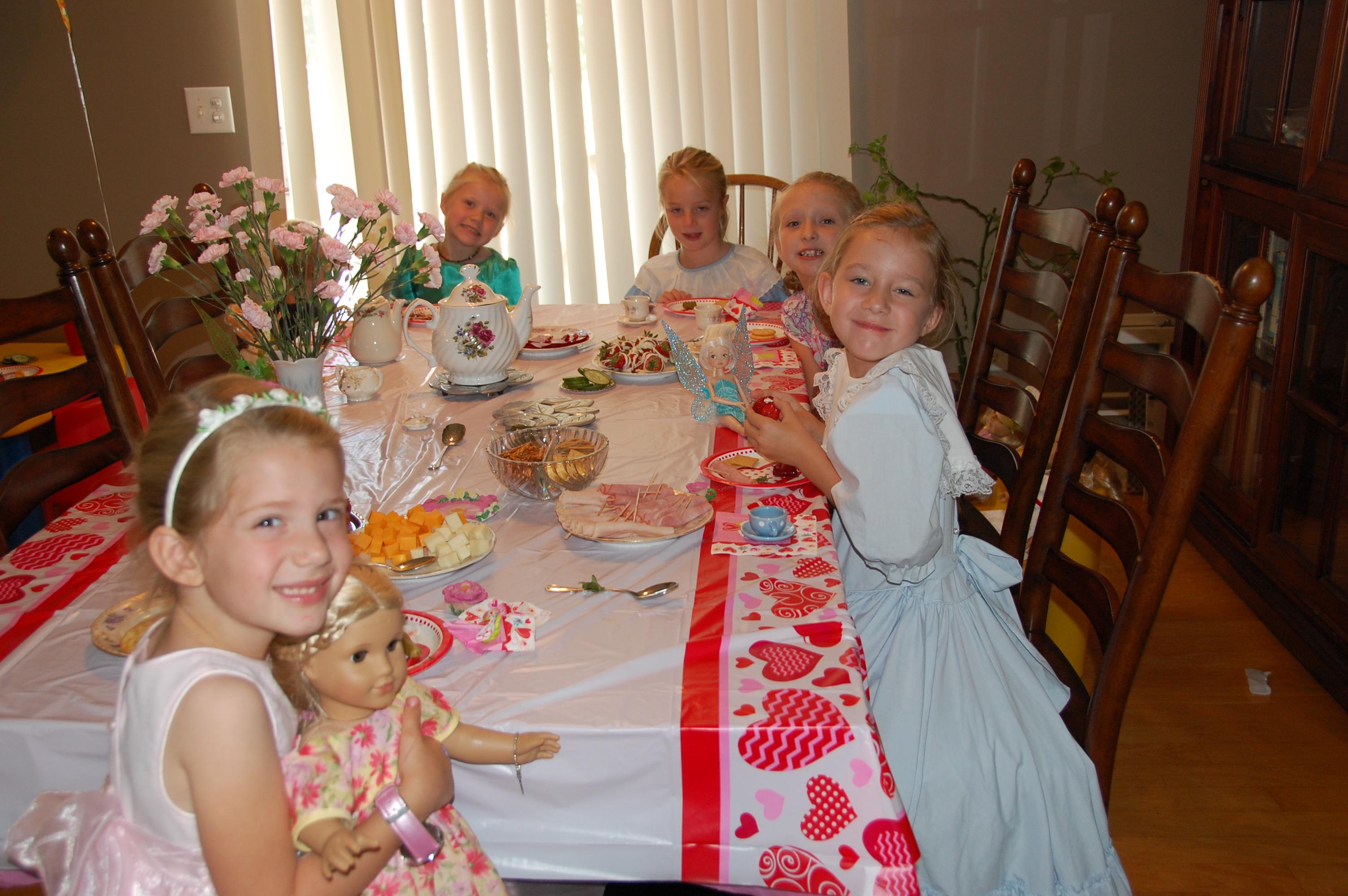 The girls enjoying the tea party.