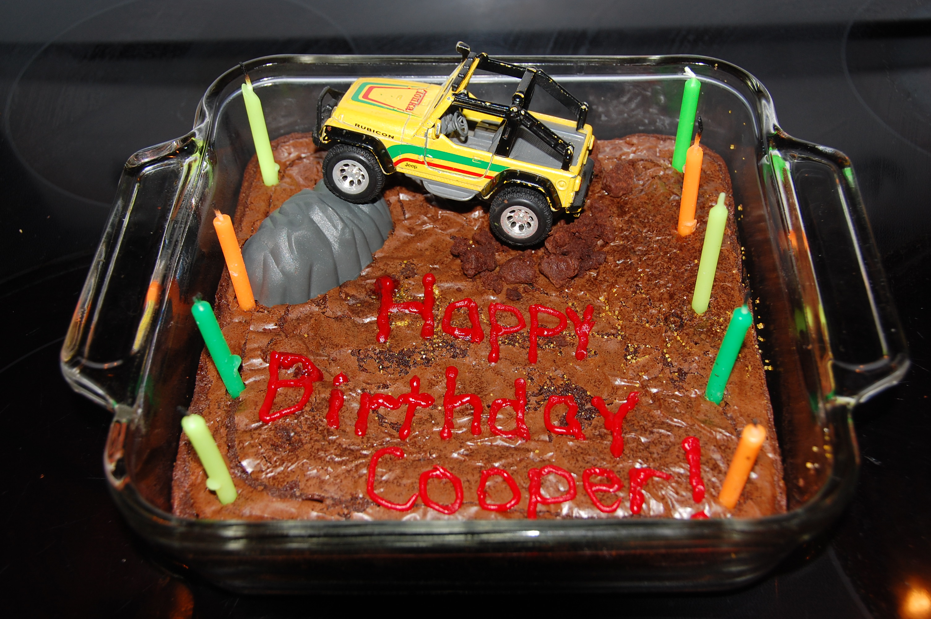 Cooper wanted a Jeep cake but wanted brownies instead of cake. That was just fine with me. SUPER SIMPLE!