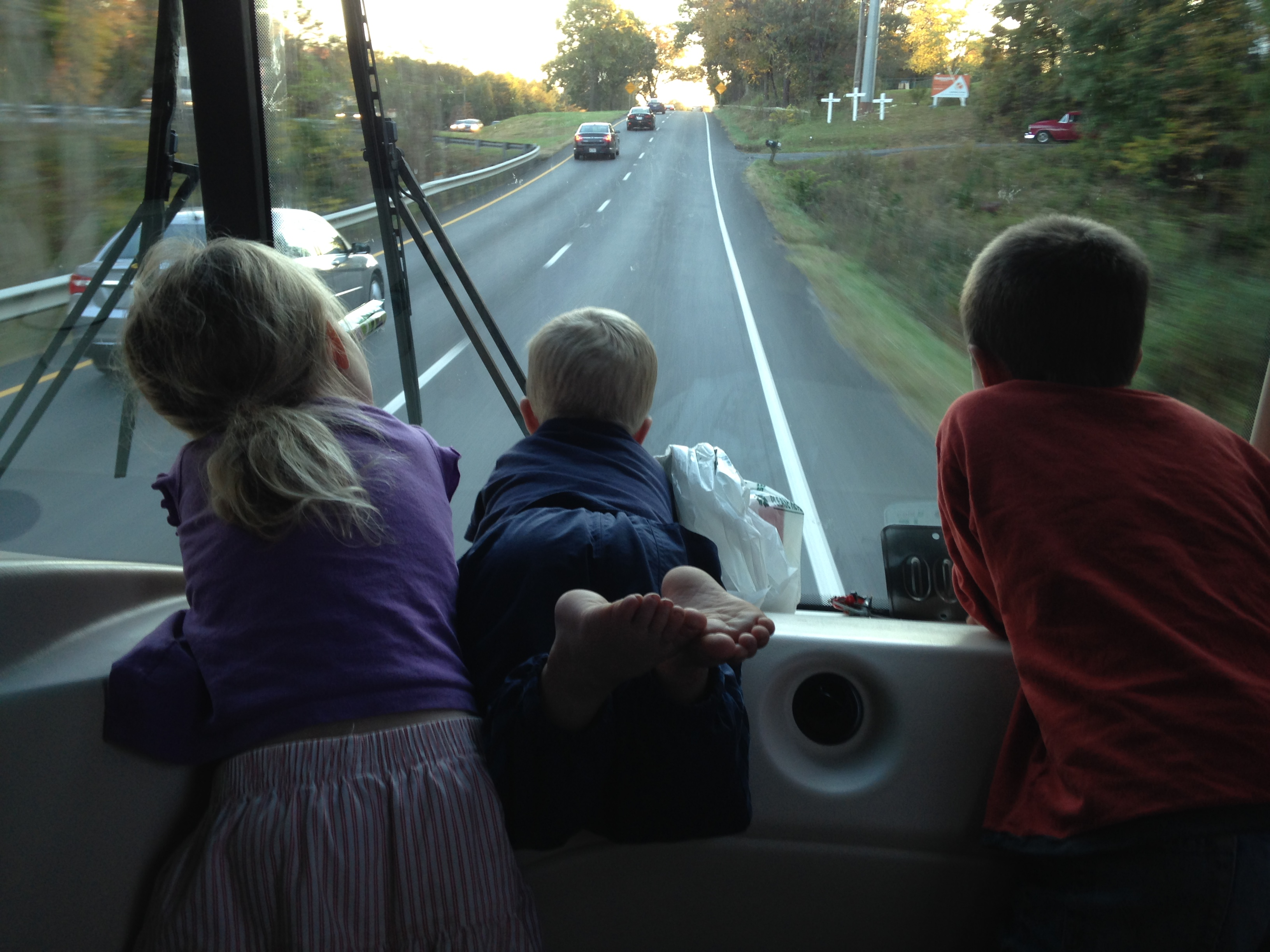The kids thought this was a great way to ride along. I love Kolby's feet in the air.