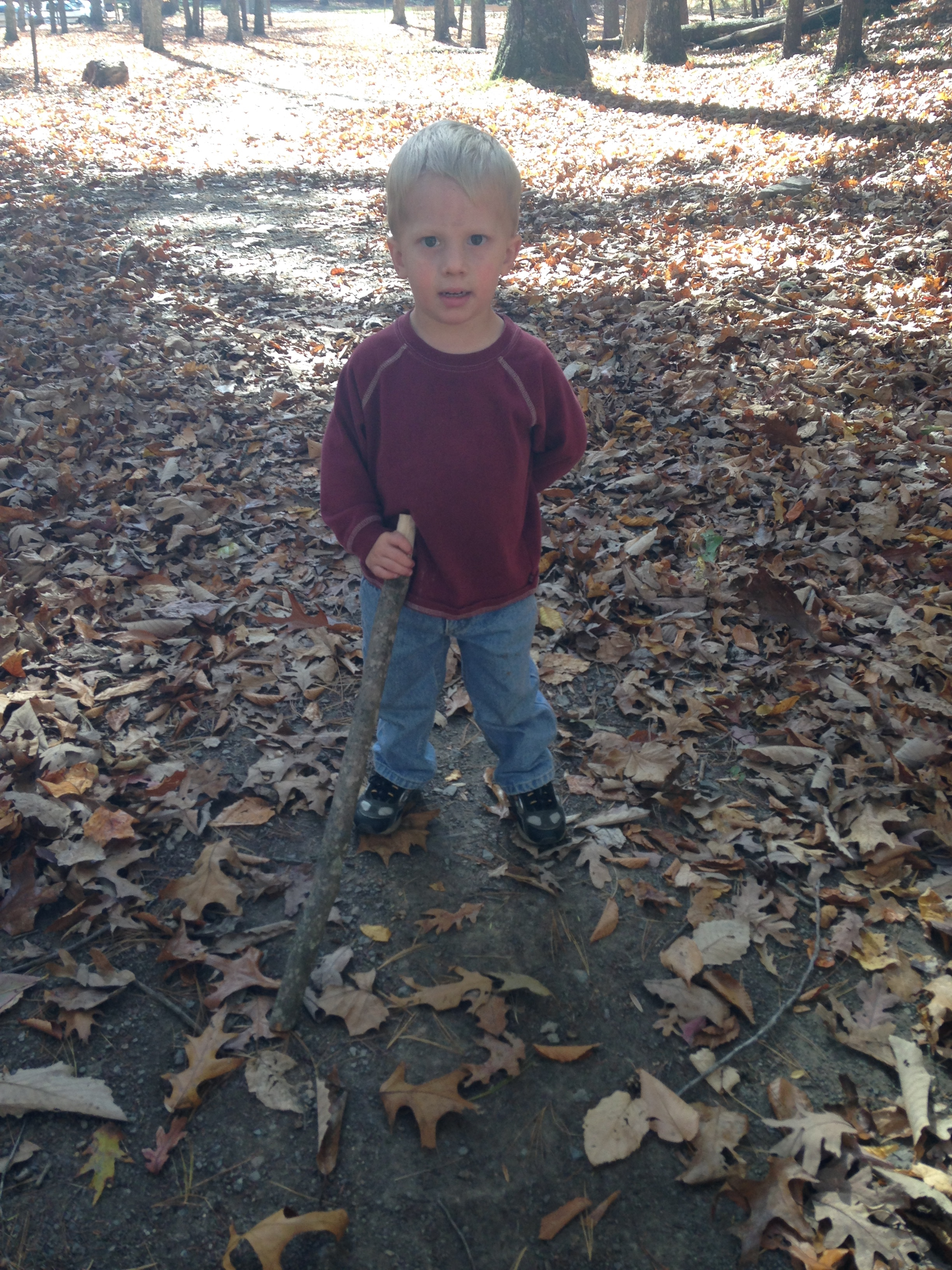 Hiker Kolby ready to go with his hiking stick!