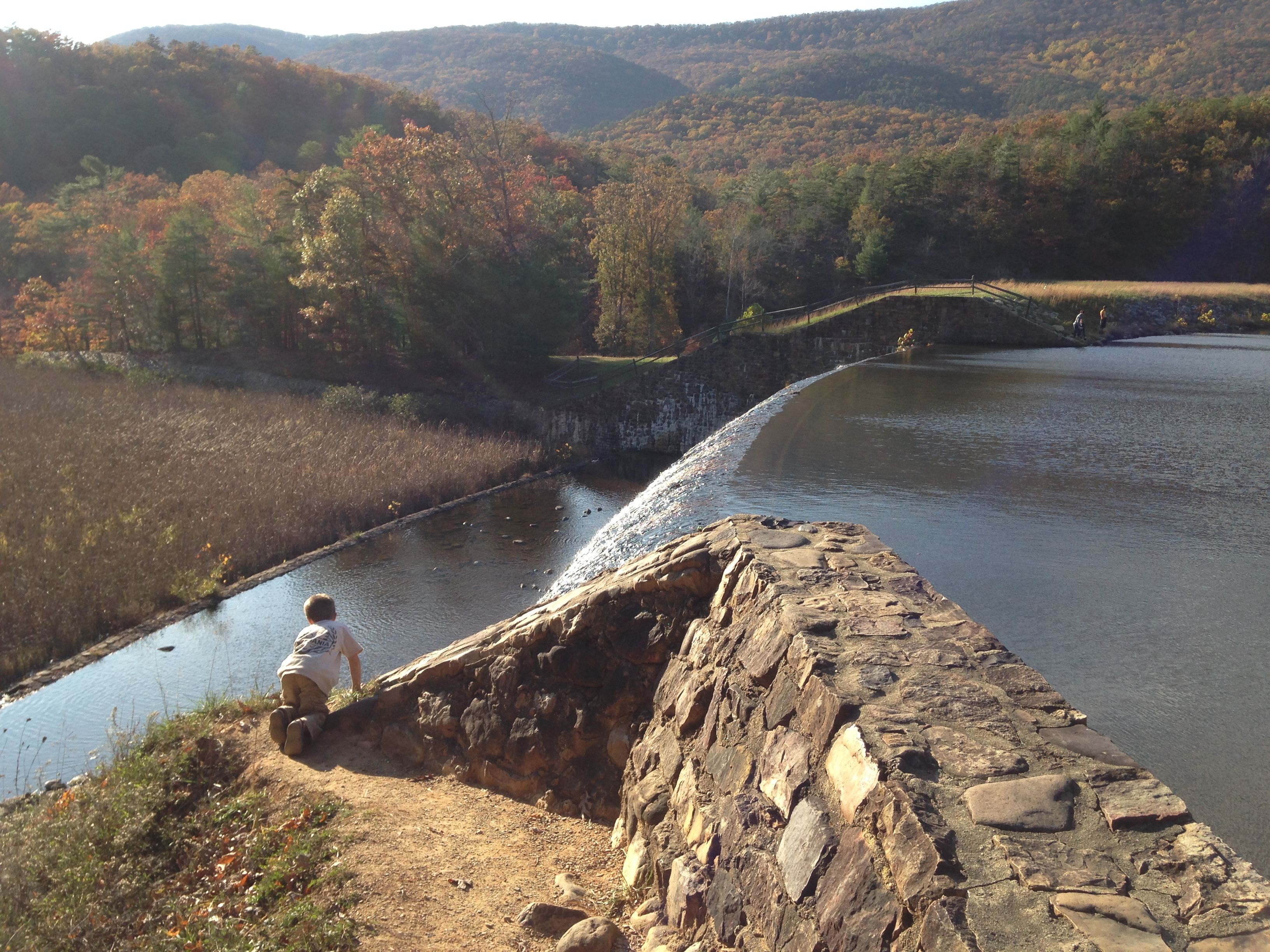 Bryant checking out the dam.