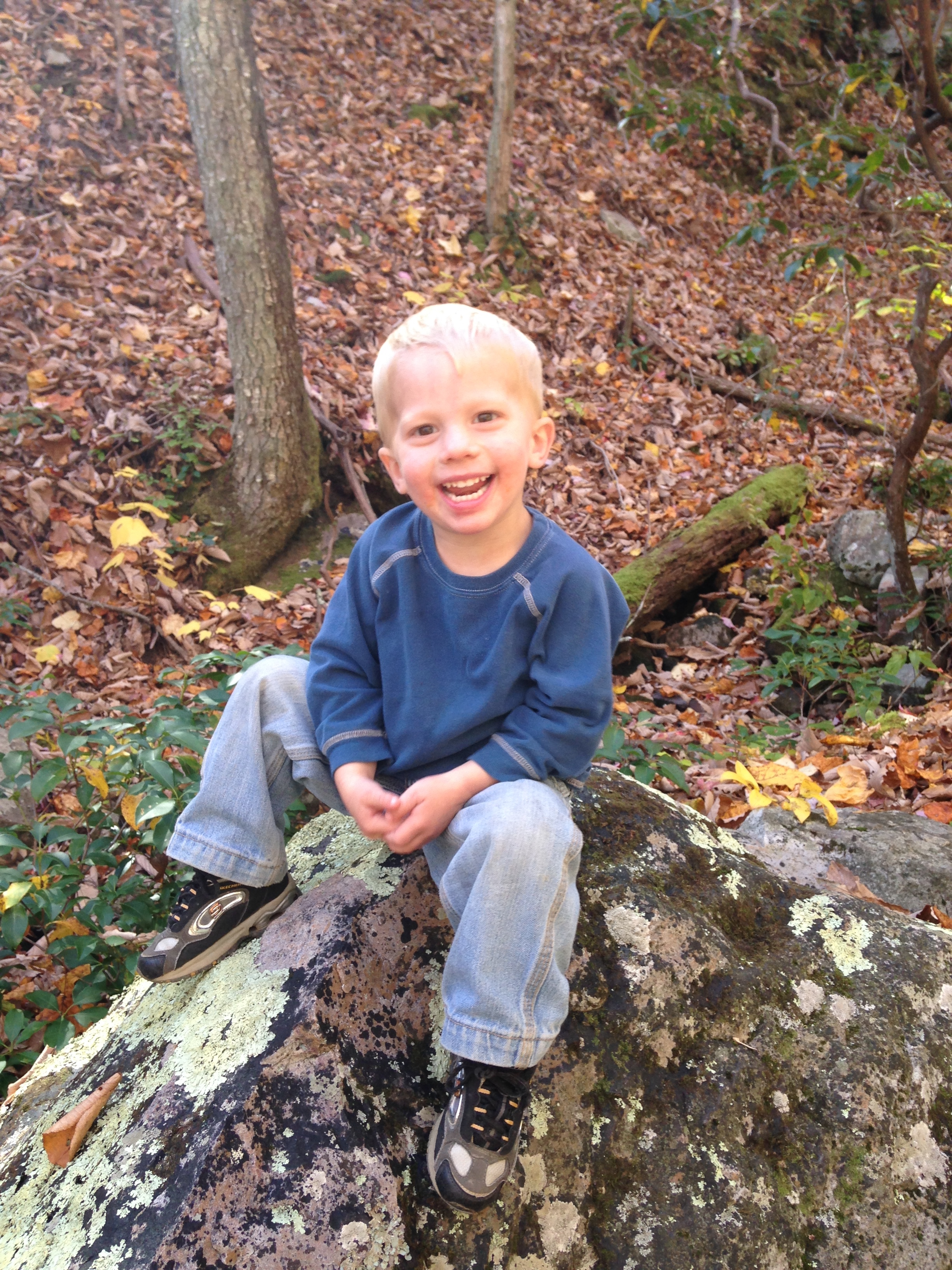 Kolby wanted to climb up every rock that was along the trail on the way back down. He was so pleased with himself.