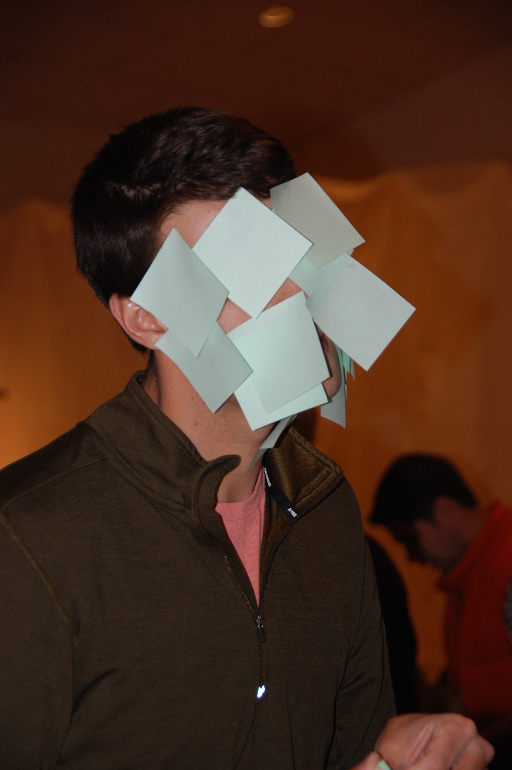 How many Post-It notes can you get to stick on your face?
