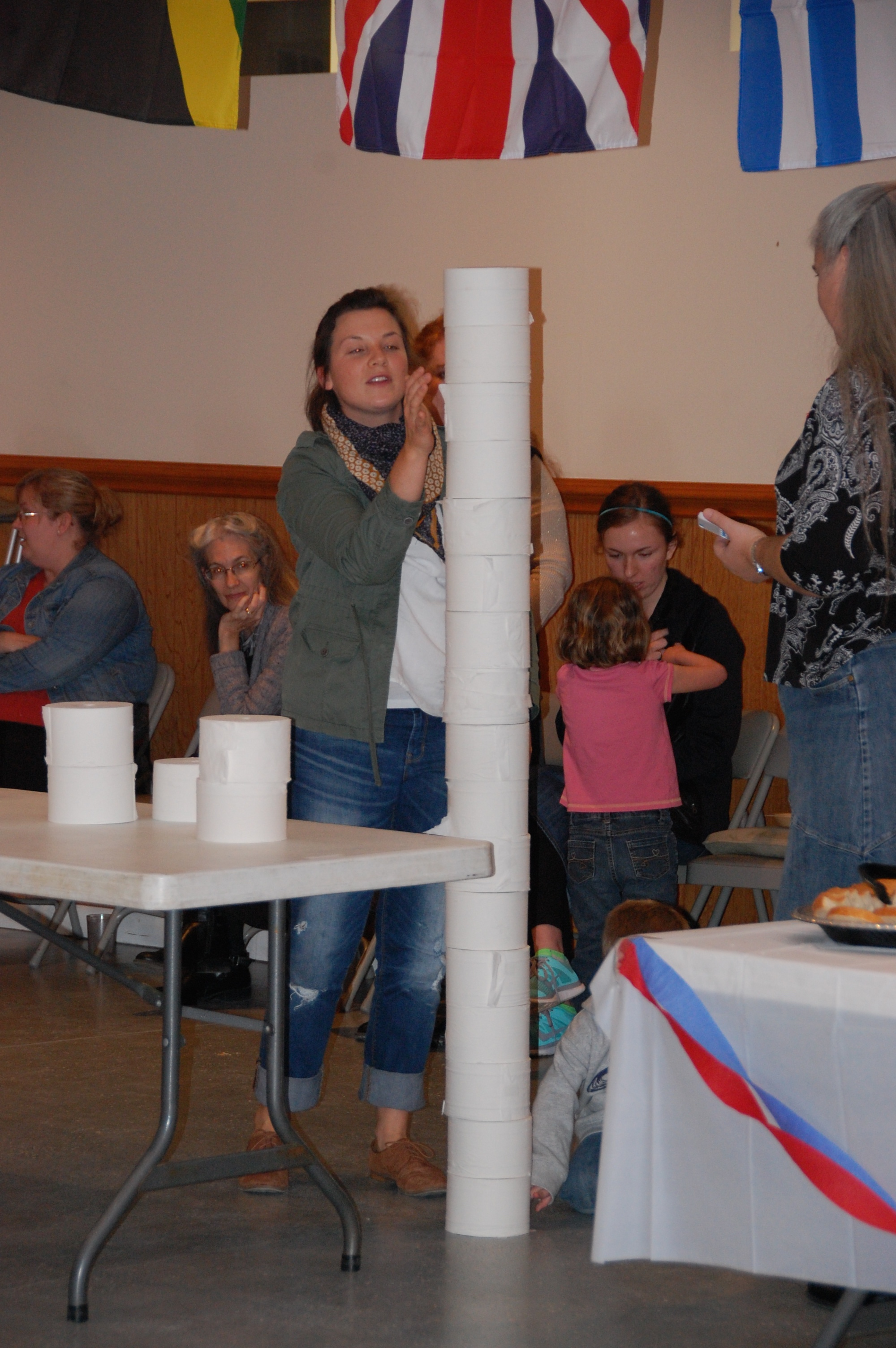 How high can you stack a tower of toilet paper rolls within a time limit?