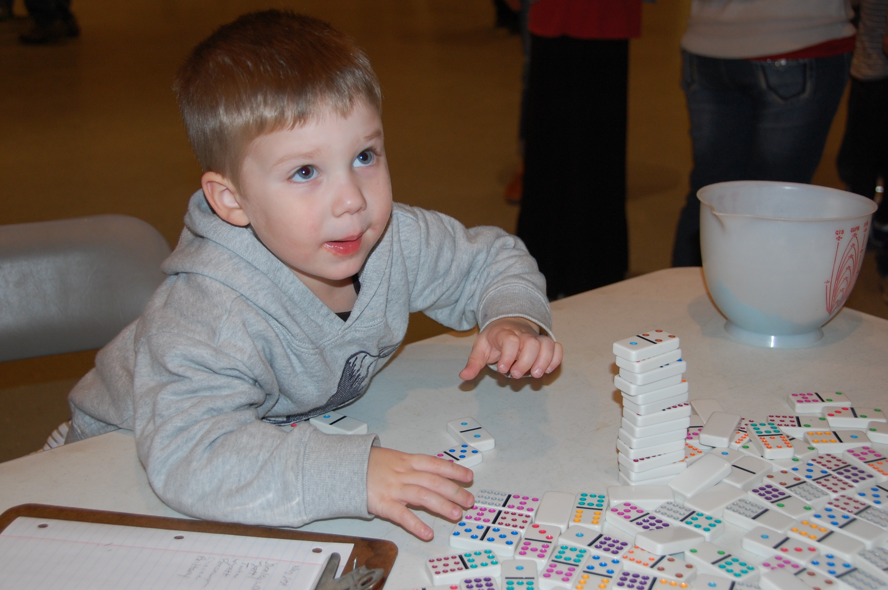 Logan stacking dominoes